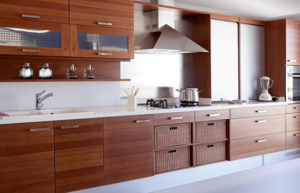 kitchen with many cabinets